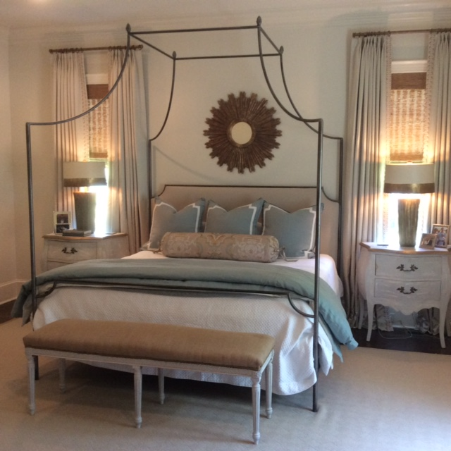 Custom iron bed, Michael Clement lamps and sunburst mirror-beautiful.
